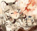 3girls animal_ear_fluff animal_ears blonde_hair blush breathing_fire brown_hair cat_ears closed_eyes commentary curry curry_rice eurasian_eagle_owl_(kemono_friends) extra_ears fire food geoffroy's_cat_(kemono_friends) hair_ribbon hakoneko_(marisa19899200) highres holding holding_spoon kemono_friends long_hair long_sleeves looking_at_another multicolored_hair multiple_girls northern_white-faced_owl_(kemono_friends) open_mouth ribbon rice sketch solo_focus spicy spoon tears two-tone_hair white_ribbon