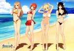 4girls absurdres arms_behind_back artist_name barefoot beach bikini black_hair blonde_hair bow breasts brown_eyes brown_hair clalaclan_philias cleavage copyright_name covered_nipples day green_eyes hair_bow hair_over_shoulder highres large_breasts long_hair long_legs multiple_girls official_art pointy_ears red_hair scan seena_kanon shining_(series) shining_wind short_hair side-tie_bikini smile swimsuit tanaka_takayuki tiara toned touka_kureha underboob xecty_ein