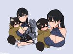 1boy 1girl age_difference animal_ears armor bandages bangs bare_shoulders black_hair blue_eyes blunt_bangs breasts brown_eyes cat_ears cat_tail cat_teaser cleavage_cutout closed_mouth commentary_request earrings ears_down frown green_eyes grey_background hair_down jewelry large_breasts looking_at_another navel original ponytail simple_background stomach sword tagme tail translation_request turbo_engine_(rakugaki_tabo) twitter_username weapon