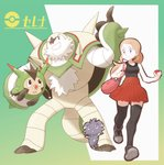 1girl absurdres bag bare_arms bare_shoulders black_legwear black_shirt blonde_hair blue_eyes breasts character_name chesnaught closed_mouth collarbone collared_shirt espurr eyebrows eyebrows_visible_through_hair gen_6_pokemon grey_footwear handbag high-waist_skirt highres holding holding_poke_ball legs_apart long_hair medium_breasts miniskirt nomura_(buroriidesu) pleated_skirt pocket poke_ball poke_ball_(generic) pokemon pokemon_(creature) pokemon_(game) pokemon_xy ponytail quilladin red_skirt serena_(pokemon) shirt shoelaces shoes skirt sleeveless sleeveless_shirt smile sneakers solo thighhighs walking zettai_ryouiki