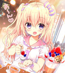 1girl ahoge bangs blonde_hair blouse blush bow cafe cherry collarbone commentary_request cup eyebrows_visible_through_hair feeding food fruit hair_between_eyes hair_bow hair_ornament hair_scrunchie heart holding holding_spoon ice_cream long_hair looking_at_viewer open_mouth original purple_eyes sailor_collar saucer scrunchie short_sleeves smile solo speech_bubble sundae teacup teapot twintails upper_body white_blouse yadapot