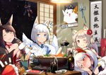 5girls :d akagi_(azur_lane) akashi_(azur_lane) animal_ear_fluff animal_ears antenna_hair artist_request azur_lane bangs bare_shoulders black_gloves black_hair black_kimono blue_eyes blunt_bangs blush bowl breasts cheek_poking chinese_commentary choker cleavage closed_eyes closed_mouth coat collarbone commentary_request eyeliner eyeshadow flower food fox_ears fox_girl fox_mask fox_tail fur-trimmed_coat fur_trim gloves hair_flower hair_ornament headgear highres indoors japanese_clothes kaga_(azur_lane) kimono kitsune kotatsu large_breasts long_hair long_sleeves makeup mask mask_on_head multicolored_hair multiple_girls multiple_tails nabe nail_polish night night_sky off_shoulder one_eye_closed open_mouth parted_lips partly_fingerless_gloves poking prinz_eugen_(azur_lane) red_choker red_flower red_hair red_kimono red_nails short_eyebrows short_hair sidelocks signature silver_hair sky smile streaked_hair table tail tears thick_eyebrows wavy_mouth white_gloves white_hair white_kimono wide_sleeves wolf_ears wolf_girl yuudachi_(azur_lane)