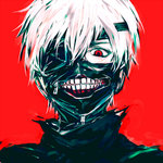 1boy creepy eyepatch kaneki_ken male meola portrait red_background red_eyes solo teeth tokyo_ghoul white_hair zipper
