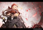 1girl :d black_gloves black_shirt black_skirt capelet closed_eyes commentary_request crop_top facing_viewer fangs feathers gloves half-nightmare highres holding hoshizaki_reita letterboxed light_brown_hair little_red_riding_hood_(sinoalice) long_hair open_mouth red_capelet red_feathers shirt signature sinoalice skirt smile solo torn_capelet twitter_username very_long_hair