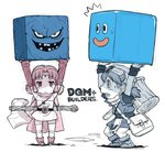 /\/\/\ 1boy 1girl :< ankle_boots axe bag boots cape carrying circlet copyright_name cube dqm dragon_quest dragon_quest_builders dragon_quest_monsters dragon_quest_monsters_plus dress hammer hero_(dqb) jitome marumo messenger_bag partially_colored rockbomb shoulder_bag slime_(dragon_quest) strapless strapless_dress sweatdrop twintails weapon yoshizaki_mine