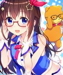 1girl :d amagai_tarou bangs bare_shoulders bespectacled black-framed_eyewear blue_eyes blue_vest blush breasts brown_hair bunny_tail buttons collared_shirt commentary_request crop_top eyebrows_visible_through_hair glasses hair_ornament hands_on_eyewear hands_up leaning_forward long_hair looking_at_viewer midriff neck_ribbon open_mouth red-framed_eyewear red_neckwear red_ribbon ribbon semi-rimless_eyewear shirt sidelocks sleeveless sleeveless_shirt smile solo star star_hair_ornament starry_background stuffed_animal stuffed_toy tail teddy_bear tokino_sora tokino_sora_channel upper_body vest virtual_youtuber white_shirt wing_collar wrist_cuffs