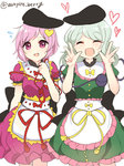 2girls apron bow closed_eyes commentary cosplay costume_switch double_v dress green_dress green_hair hat heart komeiji_koishi komeiji_satori looking_at_viewer multiple_girls nishida_satono nishida_satono_(cosplay) open_mouth ougi_hina pink_eyes pink_hair purple_dress short_hair siblings sisters sweatdrop tate_eboshi teireida_mai teireida_mai_(cosplay) third_eye touhou v waist_apron