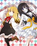 2girls :3 ahoge bandaid bandaid_on_knee bangs black_hair black_legwear black_skirt blonde_hair blue_eyes blunt_bangs blush boots brown_footwear closed_mouth commentary_request dress eyebrows_visible_through_hair grin hand_up high-waist_skirt highres long_hair long_sleeves looking_at_viewer multiple_girls neck_ribbon orange_ribbon red_footwear red_ribbon ribbon salute sash satsubatsu_share_life shoes short_sleeves skirt skirt_hold smile standing standing_on_one_leg suspender_skirt suspenders thighhighs wannyanpu wide_sleeves yellow_eyes