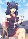 1girl :d animal_ears bangs bare_shoulders black_kimono blue_eyes blue_hair blue_sky blush book chair cloud cloudy_sky commentary_request copyright_request crossed_legs day detached_sleeves eyebrows_visible_through_hair glasses holding holding_book japanese_clothes kimono long_hair long_sleeves looking_at_viewer on_chair open_book open_mouth outdoors rasahan round_eyewear semi-rimless_eyewear sitting sky sleeveless sleeveless_kimono smile solo tail under-rim_eyewear virtual_youtuber wide_sleeves