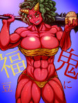 1girl abs afro animal_print beans big_hair bikini black_hair breasts cleavage club collarbone demon_girl eyebrows horns huge_breasts muscle navel oni original over_shoulder red_eyes red_oni red_skin sharp_teeth slit_pupils solo spiked_club strapless swimsuit teeth thick_eyebrows thick_thighs thighs tiger_print tubetop weapon weapon_over_shoulder you_gonna_get_raped youjin_(wakamotosupu)