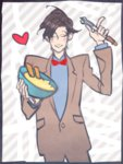 1boy bowtie custard doctor_who eleventh_doctor fried_fish heart jacket kamaboko_(moyaciv) shirt solo sonic_screwdriver
