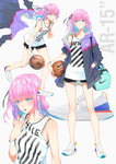 1girl ball bangs bare_shoulders basketball basketball_jersey black_bra black_shorts blue_eyes blush bra bra_peek breasts character_name closed_mouth clothes_pull collarbone commentary duffle_bag eyebrows_visible_through_hair floating_hair girls_frontline hair_between_eyes hair_ornament half-closed_eyes hand_in_pocket highres holding holding_ball jacket ladic long_hair looking_at_viewer multicolored_hair multiple_views nike no_socks one_side_up open_mouth pink_hair running short_shorts shorts side_ponytail sidelocks simple_background small_breasts solo st_ar-15_(girls_frontline) strap sweat sweatdrop thighs underwear white_background wristband