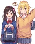 2girls :d bag bangs black_cola blazer blonde_hair blue_jacket blue_skirt bow brown_hair brown_sweater closed_mouth collared_shirt commentary_request cowboy_shot eyebrows_visible_through_hair flower hair_between_eyes hair_flower hair_ornament hand_up highres hitori_bocchi hitoribocchi_no_marumaru_seikatsu holding holding_bag honshou_aru jacket long_hair mole mole_under_eye multiple_girls o_o one_side_up open_mouth pink_flower pleated_skirt red_bow red_eyes school_bag shirt simple_background skirt smile spoken_character sunao_nako sweater v-shaped_eyebrows very_long_hair white_background white_shirt