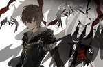1boy armor brown_hair closed_mouth eyes feathered_wings feathers gloves granblue_fantasy halo limited_palette long_sleeves looking_at_viewer male_focus red_eyes sandalphon_(granblue_fantasy) short_hair simple_background smile solo suou sword upper_body weapon white_background wings