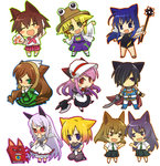 6+girls :< afterimage anger_vein animal_ears axe black_hair black_sclera blonde_hair blue_eyes blue_hair blush blush_stickers book boots brown_hair cape cat_ears character_request chibi closed_eyes commentary_request copyright_request cuffs dress eye_contact flail gloves gradient_hair hair_over_one_eye hand_on_hip hat heterochromia himuro_fuu hitec kneeling leon_magnus looking_at_another mace moriya_suwako morning_star multicolored_hair multiple_girls necktie open_mouth outline phantom_kingdom pomnit pram purple_eyes purple_hair red_eyes rozen_maiden school_uniform serafuku simple_background sketchbook_full_colors skirt smile standing suiseiseki summon_night summon_night_4 sword tales_of_(series) tales_of_destiny tanabe_ryou touhou weapon white_background white_hair wings zetta_(phantom_kingdom) zetta_(phantom_kingdom)_(book)