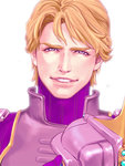 1boy blonde_hair blue_eyes headwear_removed helmet helmet_removed keith_goodman looking_at_viewer male_focus mamemo_(daifuku_mame) purple purple_eyes sky_high smile solo superhero tiger_&_bunny