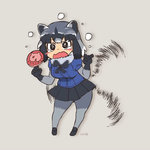 1girl animal_ears animated artist_name black_gloves black_hair black_skirt crying crying_with_eyes_open flying_sweatdrops fur_collar gloves grey_hair grey_legwear hataraki_ari japari_bun kemono_friends lowres miniskirt multicolored_hair open_mouth pantyhose pleated_skirt raccoon_(kemono_friends) raccoon_ears short_hair simple_background skirt solo speed_lines spinning standing tears ugoira