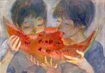 2boys black_hair blue_shirt closed_eyes eating fingernails food food_in_mouth from_side fruit hands_up holding holding_food holding_fruit male_focus minahamu multiple_boys open_mouth original sharing_food shirt traditional_media upper_body watermelon