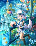 1girl balloon black_legwear blue_eyes breasts bubble bug butterfly cube detached_sleeves fish insect kneehighs koi kutsunohito medium_breasts original phonograph pipe short_hair silver_hair solo starfish tower white_hair