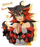 1girl :d ahoge aqua_eyes bare_shoulders black_hair blush braid character_name choker dress grey_dress hair_ornament hairclip hatsuru_826 incineroar long_hair looking_at_viewer multicolored_hair open_mouth personification plaid pokemon red_hair simple_background single_braid smile solo spiked_hair striped two-tone_hair very_long_hair yellow_sclera