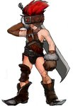1boy blank boots final_fantasy final_fantasy_ix fur_trim gloves male_focus prairie-wolf red_hair scar simple_background solo sword weapon white_background