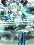 119 1girl :d aqua_eyes aqua_hair arm_up bare_shoulders black_legwear black_skirt detached_sleeves hatsune_miku highres instrument long_hair necktie open_mouth pleated_skirt shirt skirt sleeveless sleeveless_shirt smile solo speaker synthesizer thighhighs twintails very_long_hair vocaloid white_shirt zettai_ryouiki