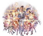 1boy 5girls bare_shoulders belt bikini blonde_hair blue_eyes boots braid breasts brown_eyes brown_hair draph drink erune facial_hair flower goatee granblue_fantasy grey_eyes grin harvin hat heart heart-shaped_pupils height_difference hibiscus high_heels holster horns large_breasts long_hair minaba_hideo multiple_braids multiple_girls navel one-piece_swimsuit one_eye_closed plaid plaid_bikini pointy_ears sandals sarong shawl short_hair smile sparkle sunglasses suspenders swimsuit symbol-shaped_pupils twin_braids yngwie