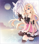 1girl artist_name bare_shoulders black_gloves black_legwear blonde_hair blue_eyes border dress full_moon gloves horse long_hair malgwa_naui_iyagi_alicia moon night night_sky partially_submerged signature sky smile solo star_(sky) starry_sky tearfish thighhighs wading water zettai_ryouiki