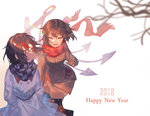 2018 2girls alternate_costume asymmetrical_wings black_hair brown_gloves buttons checkered checkered_scarf closed_eyes coat gloves hands_in_pockets happy_new_year horns houjuu_nue kijin_seija motsuba multicolored_hair multiple_girls new_year outdoors red_eyes red_hair red_scarf scarf smile snowing streaked_hair touhou waving white_hair wind wings winter winter_clothes winter_coat