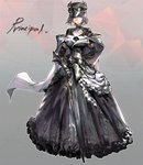 1girl black_dress cane cape character_name closed_mouth dress full_body gauntlets grey_eyes grey_hair hat holding long_skirt looking_at_viewer nogchasaeg_(karon2848) original short_hair skirt solo standing white_cape