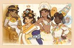 1boy 4girls alternate_skin_color bandeau beige beige_border bermuda blue_skin bracelet brown_eyes brown_hair bullets-and-cyanide cheek_rest chinese_clothes clothing_request commentary constricted_pupils daisy dark_skin earrings easter_island egyptian egyptian_clothes english_commentary feather_earrings feathers flower flower_earrings gold_trim hand_on_hip headdress hip_focus history jewelry jiangshi lips makeup mario_(series) midriff moai multiple_girls navel nose one_eye_closed own_hands_together pionpi princess princess_daisy reading redesign scroll seahorse smirk source_request super_mario_bros. super_mario_land throne tumblr_username very_dark_skin watermark web_address wide_sleeves