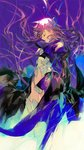 1girl closed_eyes fate/extra fate/extra_ccc fate_(series) hair_ribbon juliet_sleeves long_coat long_hair long_sleeves meltlilith profile puffy_sleeves purple_background purple_hair qiqu ribbon sleeves_past_wrists underwater very_long_hair