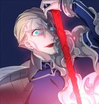1boy :d blonde_hair blue_background blue_bodysuit blue_eyes bodysuit constricted_pupils cosplay fate/kaleid_liner_prisma_illya fate/stay_night fate/zero fate_(series) gae_bolg highres holding holding_spear holding_weapon kayneth_el-melloi_archibald lancer lancer_(cosplay) long_hair looking_at_viewer male_focus open_mouth polearm simple_background smile solo spear very_long_hair weapon ycco_(estrella)
