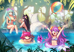 4girls >:( ahri alternate_costume animal_ears annie_hastur armpits arms_up ask_(dreaming_cat) ball beachball bikini blue_eyes blue_hair breasts flat_chest flower flower_on_head forest fox_ears fox_tail hairband league_of_legends lipstick long_hair looking_at_another looking_up lulu_(league_of_legends) makeup midriff multiple_girls multiple_tails nature outdoors partially_submerged pix pool purple_eyes purple_hair red_bikini red_eyes red_hair serious short_hair sideboob sitting sona_buvelle swimsuit tail tibbers tree_shade twintails yellow_bikini yordle
