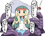 1girl blonde_hair blush green_eyes hat kanikama lillie_(pokemon) long_hair muk poke_ball pokemon pokemon_(creature) pokemon_(game) pokemon_sm smile spray_can tears translated trembling v