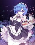 1girl blue_eyes blue_hair blush breasts cake character_name cleavage copyright_name eyebrows_visible_through_hair food hair_ornament hair_over_one_eye harin_0 holding holding_tray looking_at_viewer maid mary_janes medium_breasts pantyhose parted_lips re:zero_kara_hajimeru_isekai_seikatsu rem_(re:zero) shoes solo tongue tongue_out tray white_legwear x_hair_ornament