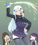 3girls artist_name blush boca cellphone commentary_request confused crossover dancing drunk eyepatch face_of_the_people_who_sank_all_their_money_into_the_fx flip_phone flower girls_frontline hk416_(girls_frontline) iron_cross jill_stingray laughing m16a1_(girls_frontline) multiple_girls phone purple_hair red_eyes rose taking_picture twintails va-11_hall-a