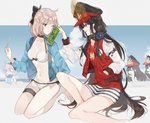 2girls ahoge ball bare_legs barefoot beach beachball bikini black_hair bottle bottle_to_cheek bow breasts buster_shirt chibi cleavage collarbone commentary fate/grand_order fate_(series) grey_eyes hair_bow hands_in_pockets hat headphones headphones_around_neck highres jacket jacket_over_swimsuit koha-ace letterman_jacket long_hair long_sleeves looking_at_another medium_breasts military_hat multiple_girls navel oda_nobunaga_(fate) oda_nobunaga_(swimsuit_berserker)_(fate) oda_uri okita_souji_(fate) okita_souji_(fate)_(all) open_mouth platinum_blonde_hair popsicle_stick red_eyes seiza shirt short_hair sitting smile sweatdrop swimsuit t-shirt thigh_strap twitter_username very_long_hair white_bikini yurumawari