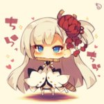 1girl azur_lane blue_eyes chibi eyeshadow flight_deck flute hair_ornament instrument japanese_clothes long_hair looking_at_viewer makeup mouth_hold muuran shoukaku_(azur_lane) signature solo translation_request white_hair