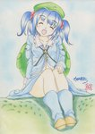 1girl backpack bag blue_hair buriki closed_eyes collarbone colored_pencil_(medium) derivative_work dress grass hair_bobbles hair_ornament hat highres kawashiro_nitori key open_mouth pocket shirt short_hair signature sitting skirt skirt_set smile solo touhou traditional_media two_side_up