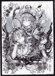 3girls animal_ears ballpoint_pen_(medium) breasts calligraphy_brush_(medium) cat_ears cat_tail chen cleavage dated dress flower fox_tail frame gap hair_ribbon hat hat_ribbon hat_with_ears jewelry long_hair looking_at_viewer mob_cap monochrome mosho multiple_girls multiple_tails nekomata one_eye_closed open_mouth ribbon rose signature single_earring smile tabard tail touhou traditional_media tress_ribbon very_long_hair yakumo_ran yakumo_yukari