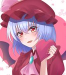 1girl :d bangs black_wings blue_hair blush demon_wings eyebrows_visible_through_hair fang fingernails hair_between_eyes hat looking_at_viewer nail_polish open_mouth pink_neckwear red_eyes red_headwear red_nails red_shirt remilia_scarlet sharp_fingernails shiny shiny_hair shirt short_hair short_sleeves smile solo souyoru touhou upper_body valentine wings