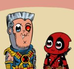 2boys :3 animated animated_gif bkub_(style) cable_(marvel) deadpool deadpool_2 ei_ei_okotta? hungyu marvel multiple_boys parody poptepipic saliva style_parody x-men