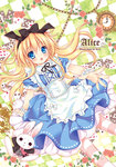 1girl :o ace_of_hearts alice_(wonderland) alice_in_wonderland animal apron arm_support artist_name bangs black_bow black_hairband black_ribbon blonde_hair blue_eyes blue_shirt blue_skirt blush bow bunny card character_name checkered checkered_background clock clothed_animal club_(shape) commentary_request diamond_(shape) eyebrows_visible_through_hair flower frilled_apron frilled_sleeves frills hair_between_eyes hair_bow hairband heart leaning_back long_hair looking_at_viewer maid_apron original outstretched_arm pantyhose parted_lips playing_card puffy_short_sleeves puffy_sleeves reaching_out ribbon rico_(pico-ba) rose shirt short_sleeves skirt spade_(shape) striped striped_legwear very_long_hair white_apron white_bow white_rabbit wrist_cuffs
