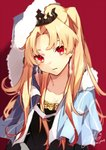 1girl artist_name bangs blonde_hair blue_capelet blush breasts capelet cleavage collarbone commentary_request cosplay crystal_earrings cu_chulainn_(fate/grand_order) cu_chulainn_(fate/grand_order)_(cosplay) earrings ereshkigal_(fate/grand_order) fate/grand_order fate_(series) fujikiri_yana fur-trimmed_capelet fur_trim highres jewelry lancer large_breasts long_hair looking_at_viewer parted_bangs parted_lips red_background red_eyes tiara toosaka_rin two_side_up upper_body