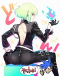 1boy ass backless_outfit biker_clothes black_gloves black_jacket closed_mouth fire frilled_shirt_collar frilled_sleeves frills galo_thymos gloves green_hair half_gloves highres jacket lio_fotia looking_back male_focus promare purple_eyes wadani_hitonori zipper