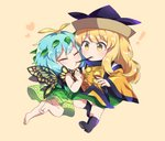 ! 2girls :t antennae bangs barefoot beige_background black_footwear black_hat blonde_hair blush boots butterfly_wings caramell0501 chibi clenched_hand closed_eyes commentary detached_sleeves dress eternity_larva eyebrows_visible_through_hair food green_dress green_skirt hand_up hat heart leaf long_hair long_sleeves matara_okina multiple_girls pocky pocky_kiss shirt short_hair simple_background skirt tabard touhou white_shirt wide_sleeves wings yellow_eyes yuri