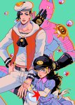 1boy 1girl absurdres arm_holding black_hair blue_dress blue_eyes brother_and_sister bubble child collarbone dress groin hand_on_another's_arm hand_on_hip hat highres jojo_no_kimyou_na_bouken jojolion killer_queen kira_yoshikage_(jojolion) long_hair md5_mismatch navel nijimura_kyou sailor sailor_hat siblings stand_(jojo) star striped striped_dress tariah_furlow time_paradox vest wavy_hair younger