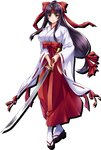 1girl black_hair bow breasts clog_sandals closed_mouth full_body hair_bow hair_ribbon hakama headband hip_vent holding holding_sword holding_weapon japanese_clothes katana large_breasts long_hair long_sleeves looking_at_viewer low-tied_long_hair miko official_art ponytail purple_eyes queen's_blade queen's_blade_unlimited queen's_blade_white_triangle red_hakama ribbon ribbon-trimmed_sleeves ribbon_trim sidelocks smile solo standing sword tabi tomoe transparent_background weapon wide_sleeves
