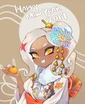 1girl 2019 :d breasts dark_skin fang food fruit hair_ornament happy_new_year highres holding japanese_clothes jtveemo kimono long_hair looking_at_viewer mandarin_orange medium_breasts new_year octarian octoling open_mouth silver_hair smile solo splatoon_(series) splatoon_2 suction_cups tentacle_hair upper_body white_kimono yellow_eyes